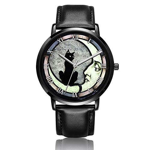 - Canisto Cat Watches, Unique Ladies Watch Black Leather Band Watch for Couples Lovers Cute Personalized Classic Fashion Mens Watch - Black Dial-Night