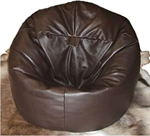 X L REAL LEATHER BEANBAG CHAIR LUXURY BROWN REAL LEATHER CHAIR