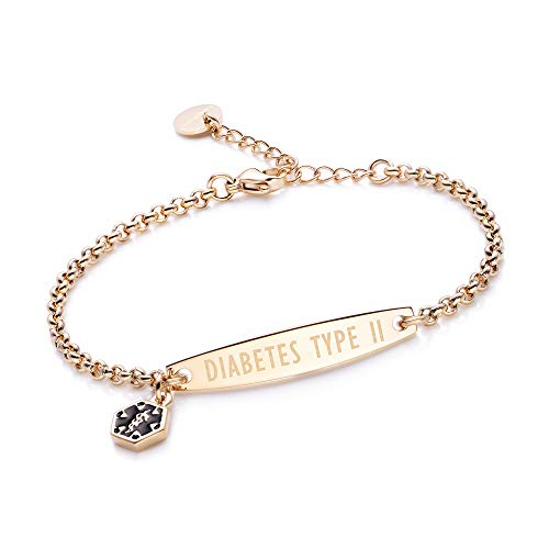 linnalove-Pre-Engraved Diabetes Type 2 Gold Simple Rolo Chain Medical Bracelet for Women & - Jewelry Medical Id Alert Bracelet