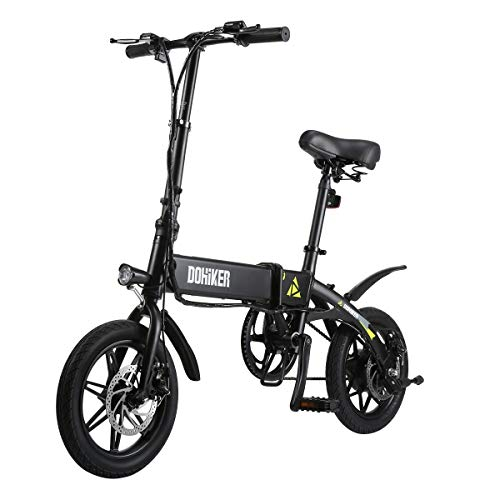 Dohiker Electric Bike Folding Bicycle 14 inch 250W Motor Max 16 mph with LED Headlight Built in USB Port