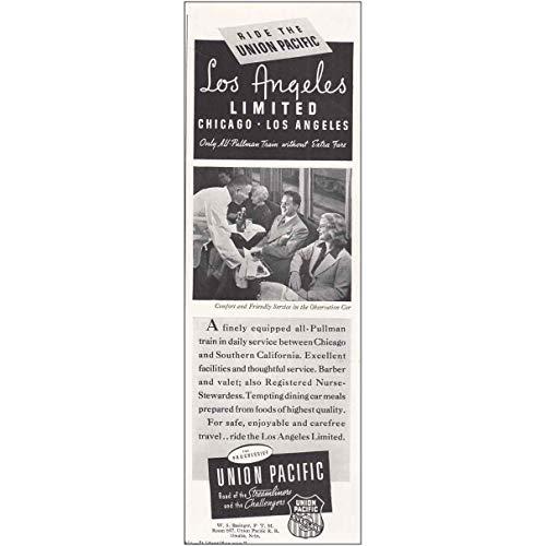 RelicPaper 1939 Union Pacific Railroad: Los Angeles, Observation Car, Union Pacific Railroad Print Ad