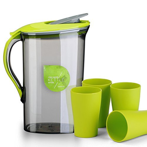 Shopline 2.1L Airtight Water Pitcher, Iced Tea Maker for Water, Tea, Coffee and Other Drinks / Comes with One Pitcher and Four Cups Set (Green)