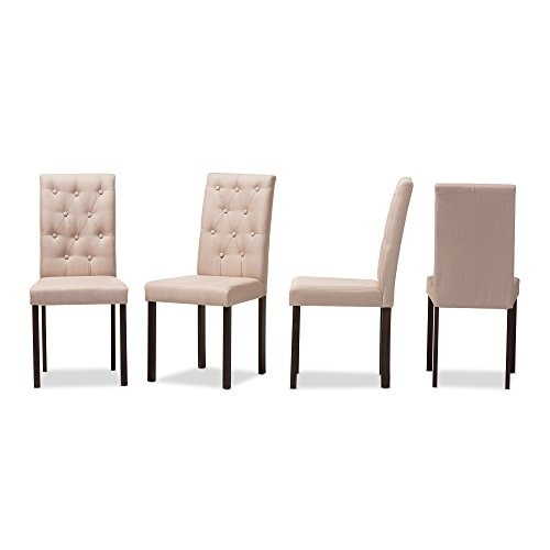 Baxton Studio Claire Dark Brown Finished Fabric Upholstered Dining Chair (Set of 4), Beige