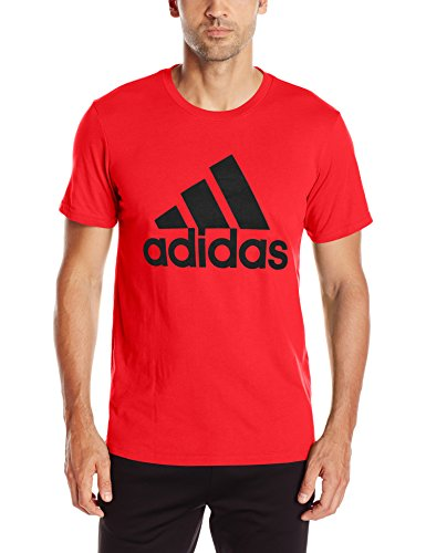 adidas Mens Badge of Sport Graphic Tee, Scarlet/Black, Small