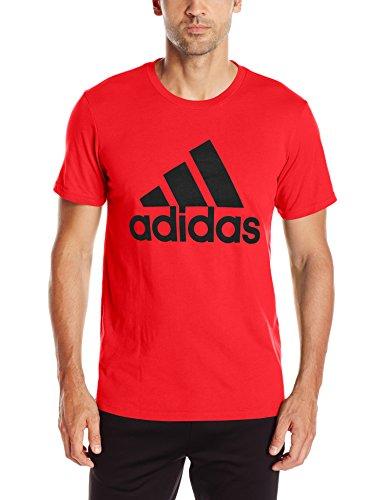 adidas Men's Badge of Sport Graphic Tee, Scarlet/Black, Medium