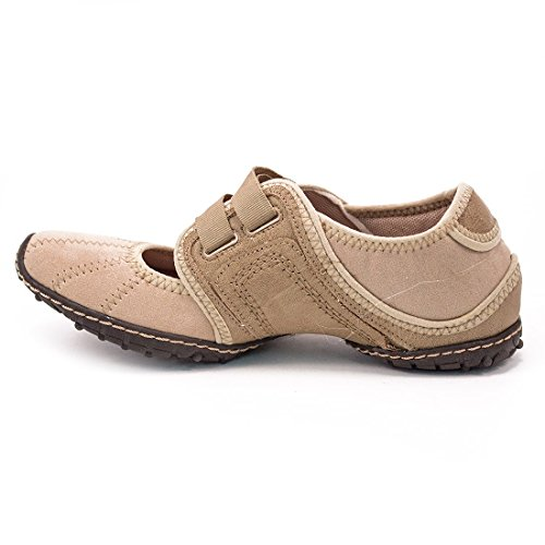 Breckelles Tongueless Mode Sneakers Fermeture Velcro Confort Appartements Chaussures Sahara-72 Taupe