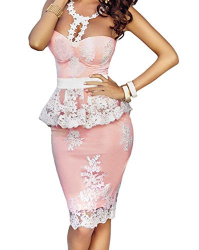 Christmas TomYork Floral Lace Crochet Nude Illusion Pink Peplum Dress(Size,M) (Sexy Maid Lingere)
