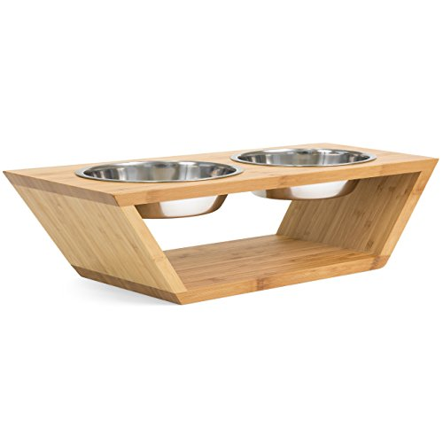 Best Choice Products Elevated Stand Double Pet Bowl Feeder, 4in, for Dogs and Cats, with 2 Stainless Steel Bowls