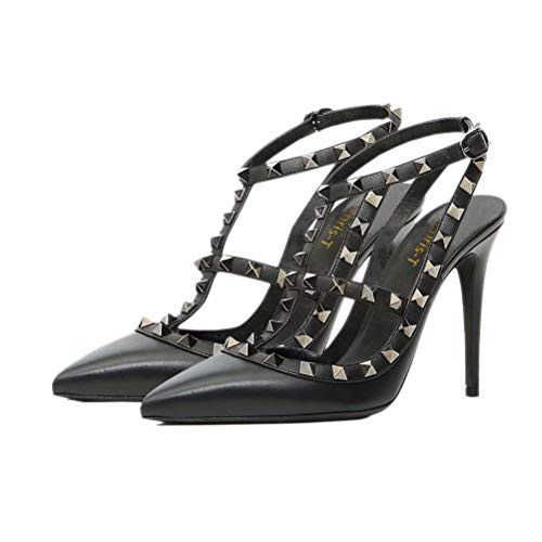d Toe Studded Strappy Slingback High Heel Stilettos Leather Pumps Black Size 13US ()