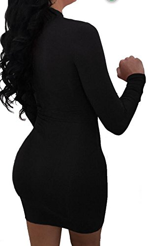 Clubwear Women Bodycon Dress Cut Domple Sleeve Party s Long Bandage Mini Black Out SxqnZRwq