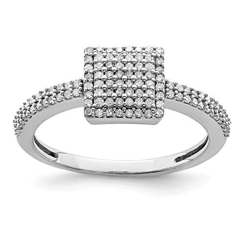 925 Sterling Silver Diamond Square Band Ring Size 7.00 Fine Jewelry For Women Gift Set ()