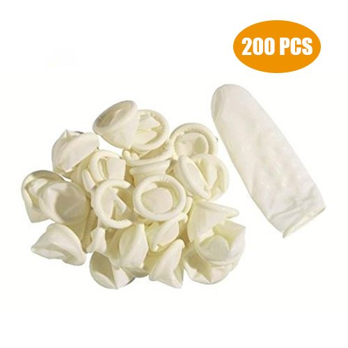 G2PLUS Disposable Latex Finger Cots Rubber Fingertips Protective Finger Gloves Art Latex Tissue Finger Cot (200 PCS)