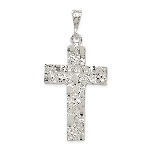(Mia Diamonds 925 Sterling Silver Solid Nugget Cross Pendant (53mm x 27mm))