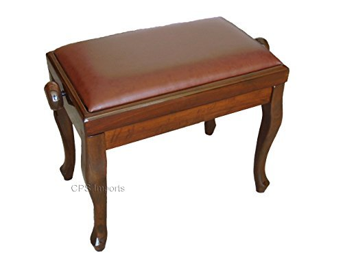 Adjustable Genuine Leather Classic Piano Bench in Walnut by CPS Imports