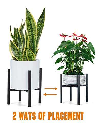- Plant Stand for Indoor Outdoor Plant Pots | Pccooler Mid Century Rustproof Iron Art Flower Pot Holder | Extra Tray Fit Any Planter Pot Below 9.7 Inches | Modern Home Decor (9.7 inches)