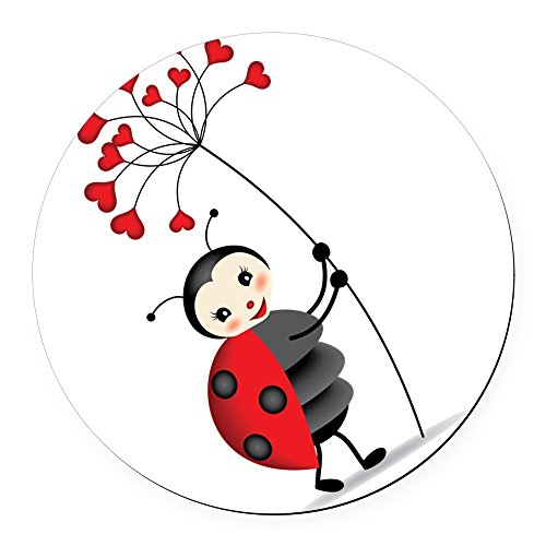 Round Ladybug - CafePress - ladybug with heart tree Round Car Magnet - Round Car Magnet, Magnetic Bumper Sticker