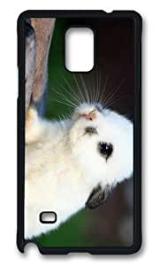 MOKSHOP Adorable Fluffy White Bunny Hard Case Protective Shell Cell Phone Cover For Samsung Galaxy Note 4 - PCB