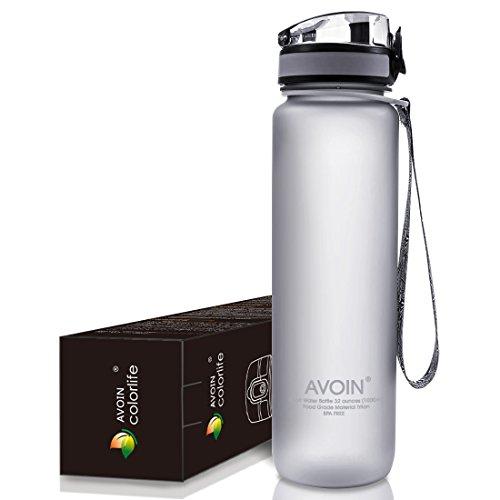 AVOIN colorlife Sport-Wasser-Flasche - 500ml & 1000ml - verschiedene Farbenauswahl - BPA frei/Ungiftig & Umweltfreundlicher Tritan Kunststoff, Klappbarer auslaufsicherer Deckel, mit einem Klick zu öffnen
