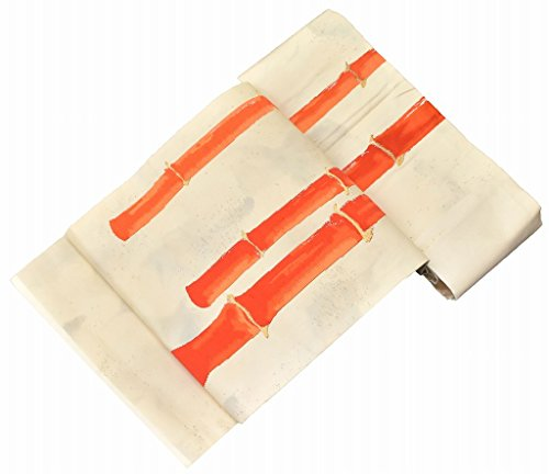 議論する勝利した歌うリサイクル 名古屋帯 中古 正絹 九寸 なごやおび 刺繍 竹文様 白系 jj2009c