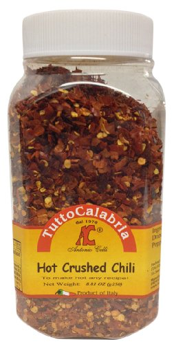 Tutto Calabria Hot Crushed Calabrian Chili Peppers 250 Grams (8.81 oz) Shaker Jar (Powder Jalapeno Chile Pepper Chili)