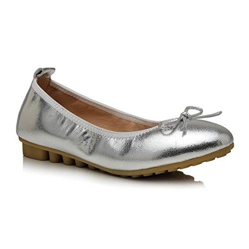 Amoonyfashion Femmes Assorties Couleur Matériau Doux Talons Bas Rond Fermé Orteils Pompes-chaussures Argent