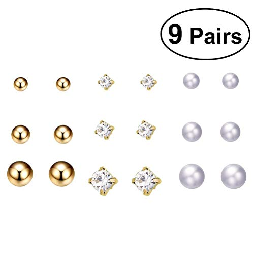 (9 Pairs Pearl Earrings Exquisite Ear Studs Ear Ring Ear Jewelry for Girls Ladies)