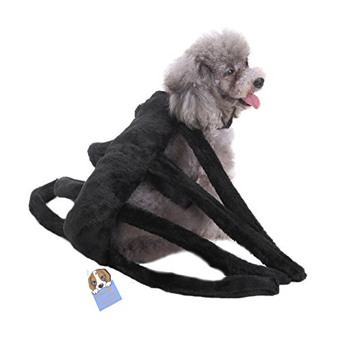 Yunt Pet Spider Harness Clothes Props Dogs Dress Up Halloween Funny Costume Furry Spider for Small Middle Sized Dogs L