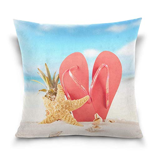 - TOGEFRIEND Summer Beach Red Sandals Shells Decorative Square Throw Pillow Covers Cases Home Décor Bed Sofa Couch Car 18 x 18 inch