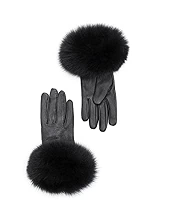 Leather Gloves Fur Trim