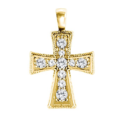 (10k Yellow gold 10k Yellow gold Crusader Cross Pendant and Matching Chain set with Forever Brilliant Created Moissanite by Charles & Colvard with Forever Brilliant Moissanite by Charles Colvard (0.43 ct. twt.))