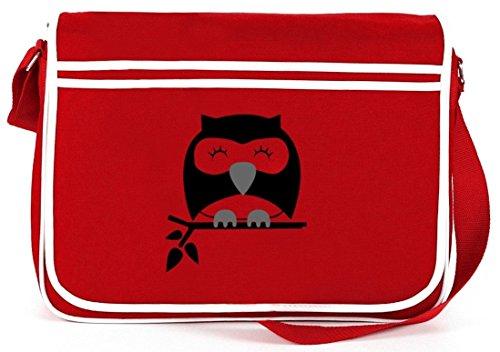 Shirtstreet24, Sleepy Owl, Eule Natur Retro Messenger Bag Kuriertasche Umhängetasche Rot