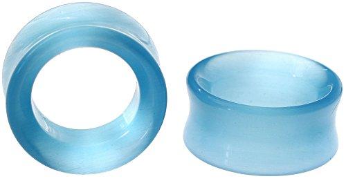 11//16 Pair Blue Cats Eye Stone Plugs 18mm
