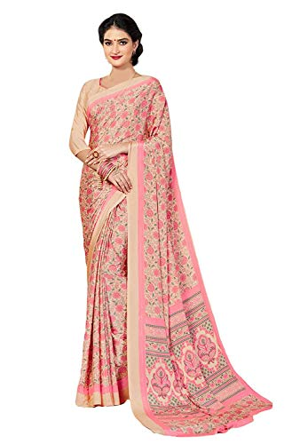 Jaanvi fashion Women's Crepe Silk Floral Printed Saree Pink-EID SpecialWith Unstitched Blouse