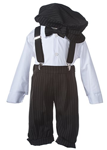 Boys Black Pinstripe Knicker Set with Suspenders in Baby, Toddler & Boys Sizes (5 ()