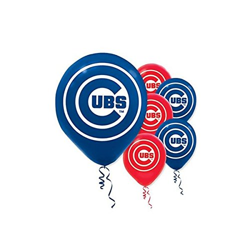 Sports and Tailgating MLB Party Chicago Cubs Printed Latex Balloons Decoration, 6 Pieces, Latex, Blue and Red, 12