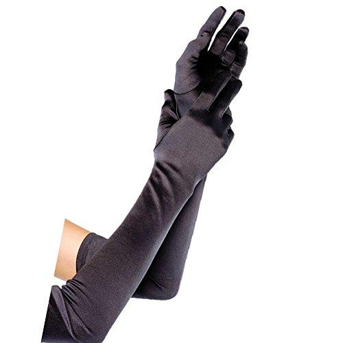 Fllbridal Women's Shiny Stretch Satin Dress Gloves Below-The-Elbow Length Line - Elbow Gloves Below Wedding