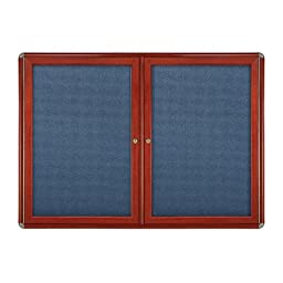 Ovation Door Enclosed Bulletin Board Frame Finish: Cherry, Surface Color: Blue, Size: 3\' H x 5\' W