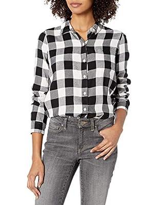 Lucky Brand Women's Black Classic One Pocket Plaid Shirt