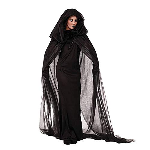YOUTH UNION Halloween Women's Black Witch Cosplay Hooded Cloak Cape Costume Vampire Dress Party -