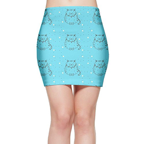 SKIRTS WWE Giggling Cat Womens Slim Fit High Waisted Mini Short Skirt by SKIRTS WWE