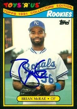 Toys R Us Kansas City (Brian McRae autographed Baseball Card (Kansas City Royals) 1991 Topps Toys R Us #18 - Autographed Baseball)