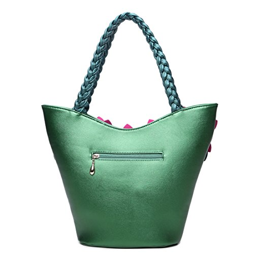 Bag Pu Handbags Kaxidy Messenger Satchel Handbag Flower Leather Ladies Green Shoulder Girls Bags wqPq0H