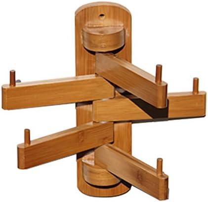 ZEMIN コートラック 壁掛け回転可能なコートラック服の帽子スタンドハンガーホルダー装飾5フック竹、51.5 * 30 * 20CM (色 : 木の色)