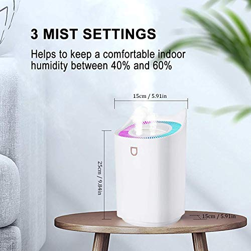 Ymibull 3L Cool Mist Humidifiers, Quiet Ultrasonic Humidifier for Bedroom, Large Home, Double Spray Large Capacity Humidifier USB Office Bedroom Household Mute Humidifier (White)