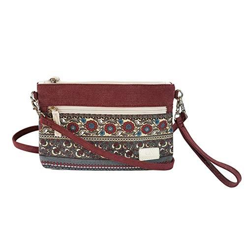Print Wristlet - FanCarry Canvas Lightweight Dual Crossbody Purse Handbag Wristlet for Women- Flower Pattern (Burgundy-Crossbody)