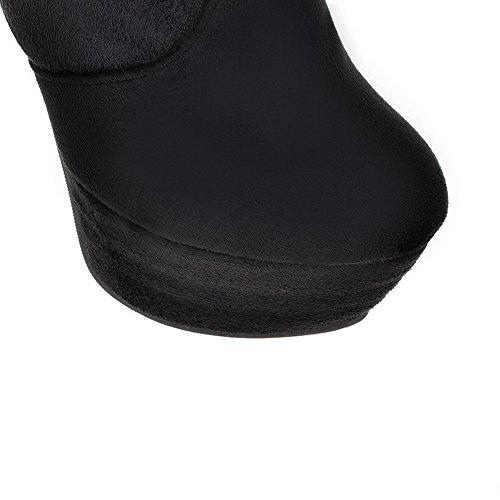 AmoonyFashion Womens Closed Round Toe High Heels Solid PU Frosted Short Plush Boots with Platform Black RCQwY