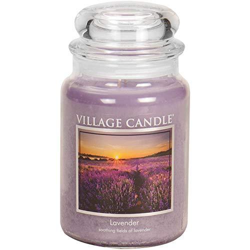 Village Candle Lavender 26 oz Glass Jar Scented Candle, Large,