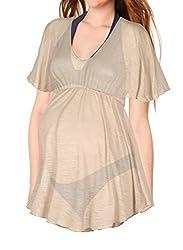 Beachcoco Maternity Women's Babydoll Semi Sheer Tunic Top (M, Beige)