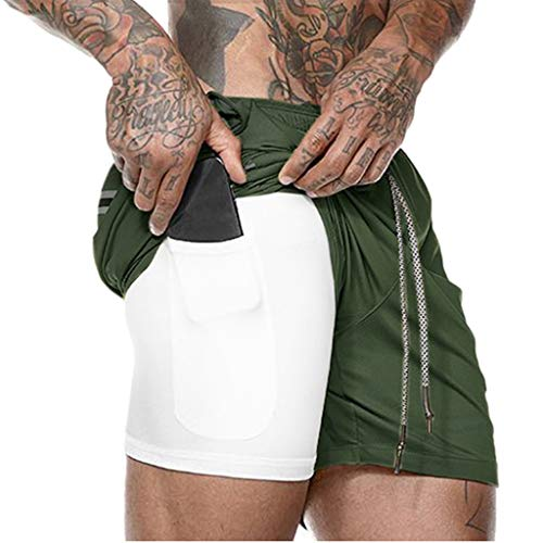 - Men's Workout Running 2 in 1 Shorts Training Gym Short with Pockets Fitness Short Pants (M, Green)