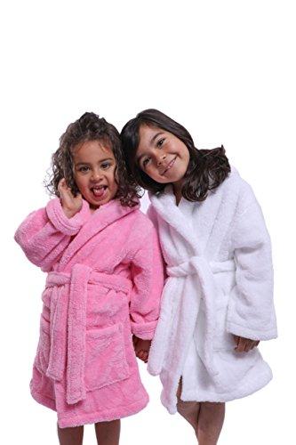 Bagno Milano Girls Hooded Plush Bathrobe – 100% Microfleece – Pink 14
